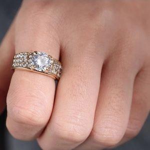 Gold Engagement Wedding Ring